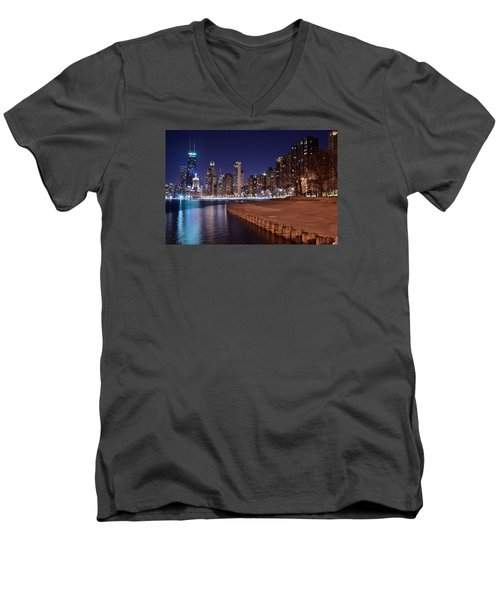 Chicago From The North Men's V-Neck T-Shirt by Frozen in Time Fine Art Photography