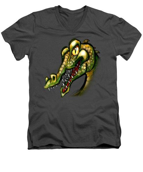 Crocodile Men's V-Neck T-Shirt by Kevin Middleton