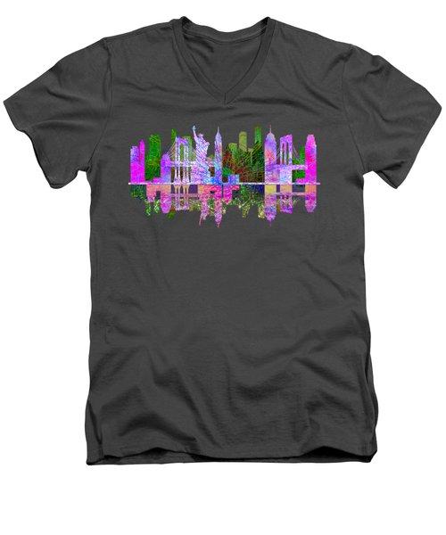 New York Skyline Men's V-Neck T-Shirt by John Groves