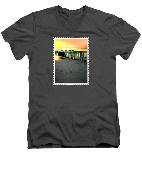 Sea Gulls On Pilings  At Sunset Men's V-Neck T-Shirt by Elaine Plesser