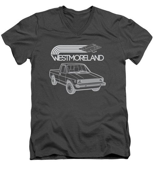 Vw Rabbit Pickup - Westmoreland Theme - Black Men's V-Neck T-Shirt by Ed Jackson