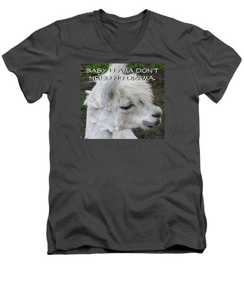 Baby Llama Men's V-Neck T-Shirt by Ellen Henneke