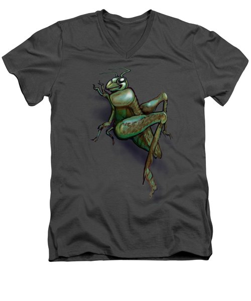 Grasshopper Men's V-Neck T-Shirt by Kevin Middleton