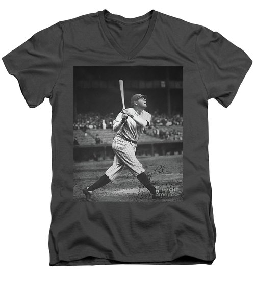 Babe Ruth  Men's V-Neck T-Shirt by American School