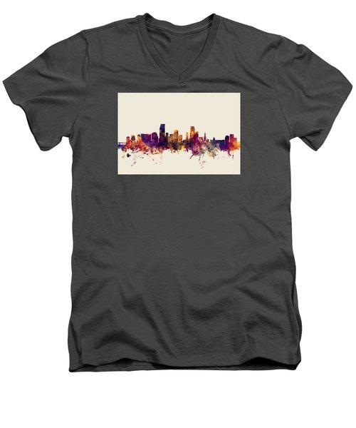 Miami Florida Skyline Men's V-Neck T-Shirt by Michael Tompsett