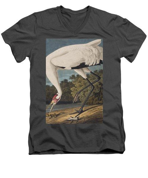 Whooping Crane Men's V-Neck T-Shirt by John James Audubon