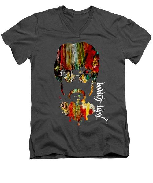 John Lennon Collection Men's V-Neck T-Shirt by Marvin Blaine