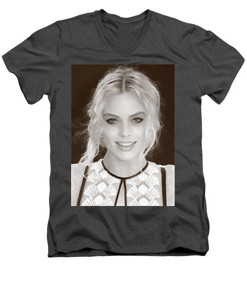 Actress Margot Robbie Men's V-Neck T-Shirt by Best Actors
