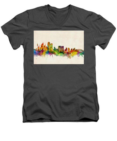 Sydney Australia Skyline Men's V-Neck T-Shirt by Michael Tompsett
