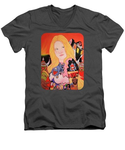 80s Girl 5  Men's V-Neck T-Shirt by Jason Wright