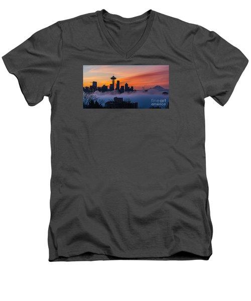 A City Emerges Men's V-Neck T-Shirt by Mike Reid