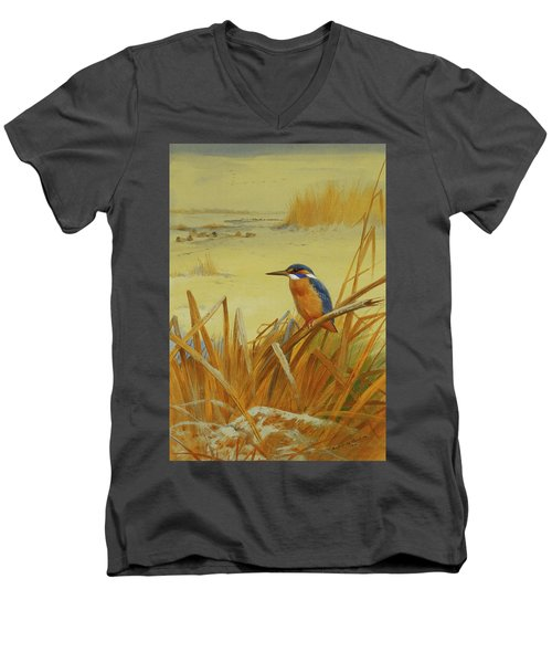 A Kingfisher Amongst Reeds In Winter Men's V-Neck T-Shirt by Archibald Thorburn