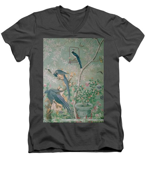 A Pair Of Magpie Jays  Vintage Wallpaper Men's V-Neck T-Shirt by John James Audubon