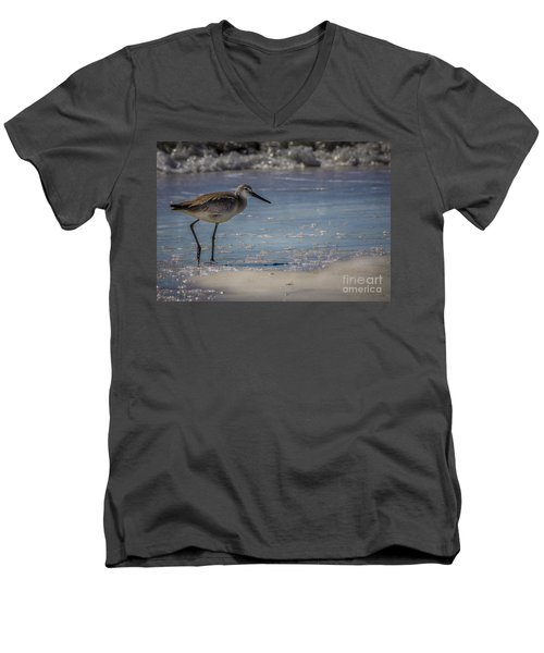 A Walk On The Beach Men's V-Neck T-Shirt by Marvin Spates