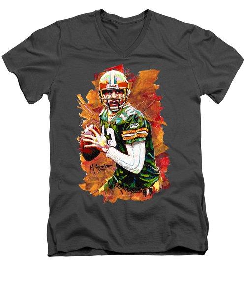 Aaron Rodgers Men's V-Neck T-Shirt by Maria Arango
