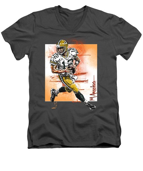 Aaron Rodgers Scrambles Men's V-Neck T-Shirt by Maria Arango