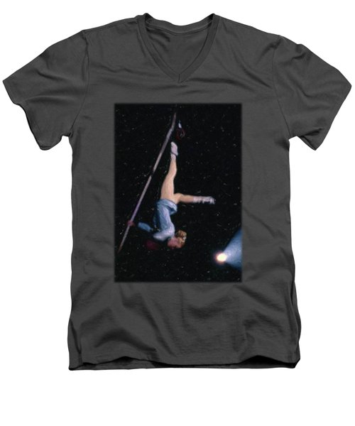Aerial Acrobat Men's V-Neck T-Shirt by Jon Delorme