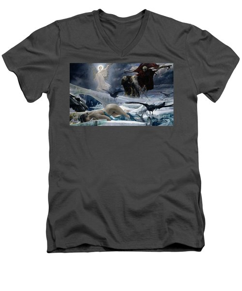 Ahasuerus At The End Of The World Men's V-Neck T-Shirt by Adolph Hiremy Hirschl