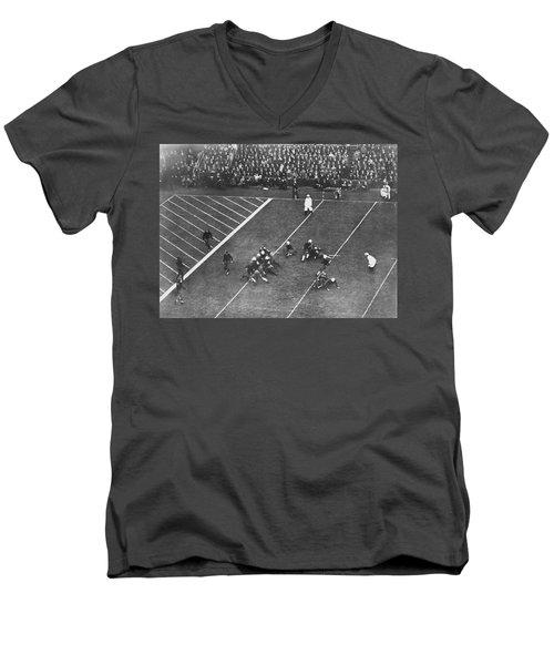 Albie Booth Kick Beats Harvard Men's V-Neck T-Shirt by Underwood Archives