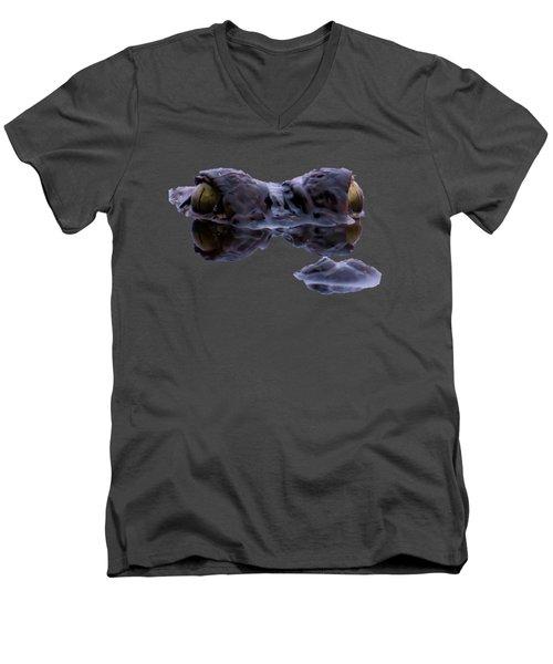 Alligator Eyes On The Foggy Lake Men's V-Neck T-Shirt by Zina Stromberg