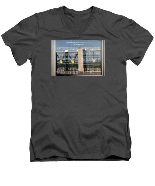 Men's V-Neck T-Shirt featuring the photograph American Battle Monuments Commission by Travel Pics