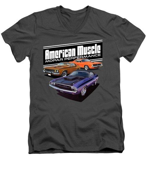 American Mopar Muscle Men's V-Neck T-Shirt by Paul Kuras