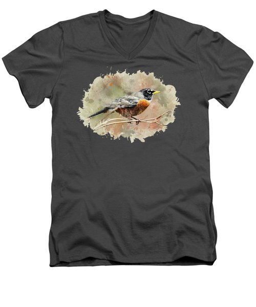 American Robin - Watercolor Art Men's V-Neck T-Shirt by Christina Rollo