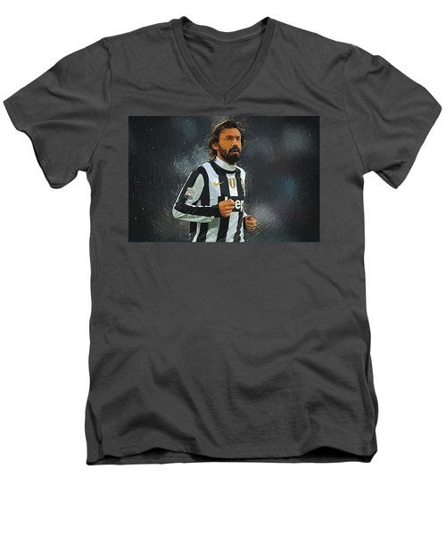 Andrea Pirlo Men's V-Neck T-Shirt by Semih Yurdabak