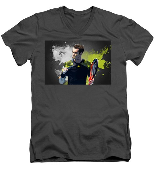 Andy Murray Men's V-Neck T-Shirt by Semih Yurdabak
