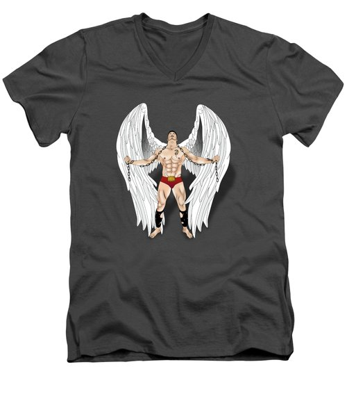 Angel Love 2  Men's V-Neck T-Shirt by Mark Ashkenazi