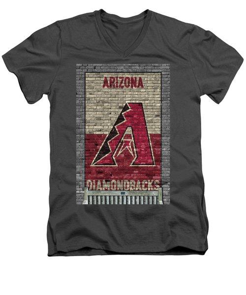 Arizona Diamondbacks Brick Wall Men's V-Neck T-Shirt by Joe Hamilton