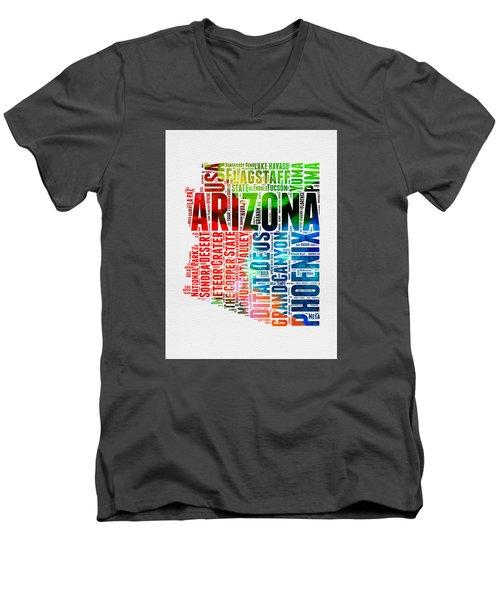 Arizona Watercolor Word Cloud Map  Men's V-Neck T-Shirt by Naxart Studio