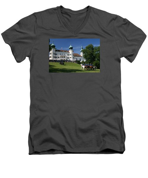 Men's V-Neck T-Shirt featuring the photograph Artstetten Castle In June by Travel Pics