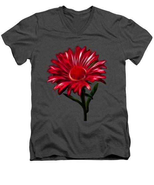 Red Daisy Men's V-Neck T-Shirt by Shane Bechler