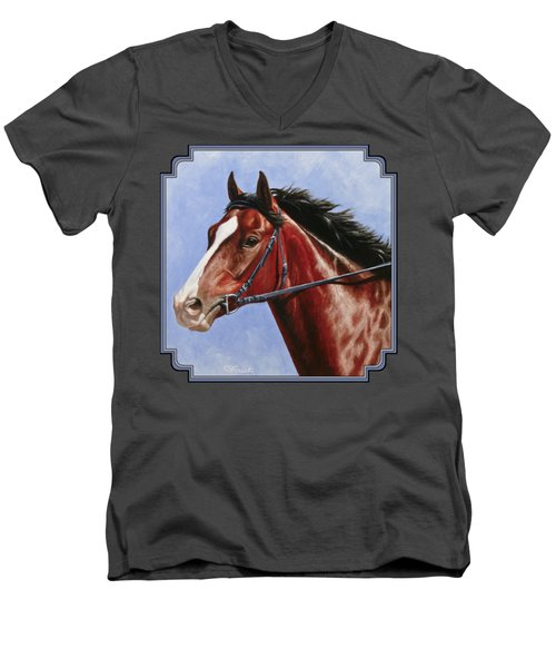 Horse Painting - Determination Men's V-Neck T-Shirt by Crista Forest