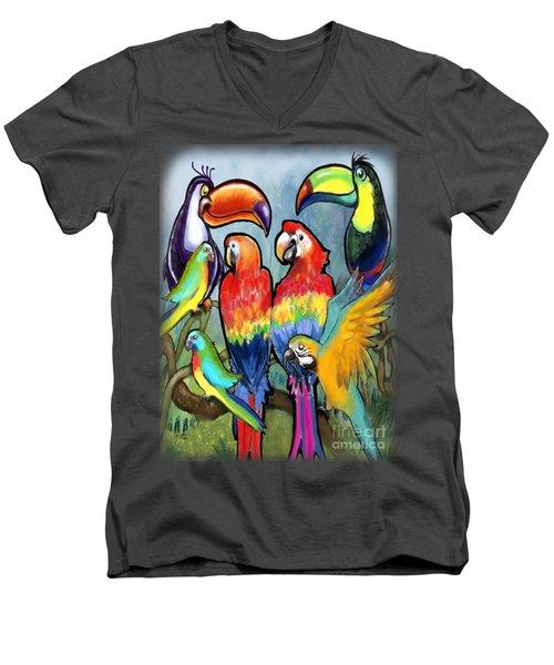Tropical Birds Men's V-Neck T-Shirt by Kevin Middleton