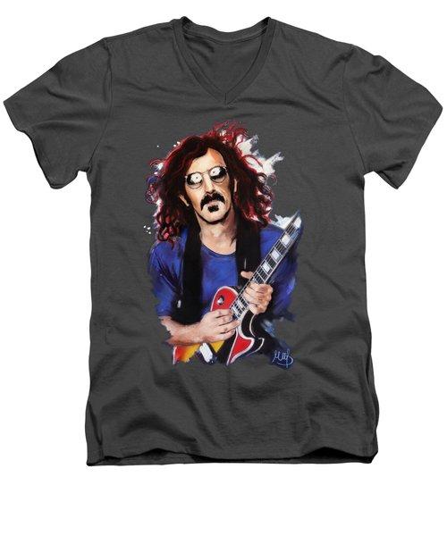 Frank Zappa Men's V-Neck T-Shirt by Melanie D