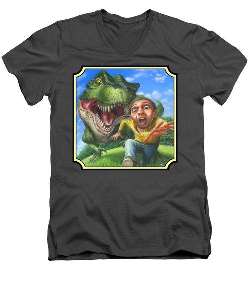 Tyrannosaurus Rex Jurassic Park Dinosaur - T Rex - T Rex - Extinct Predator - Square Format Men's V-Neck T-Shirt by Walt Curlee