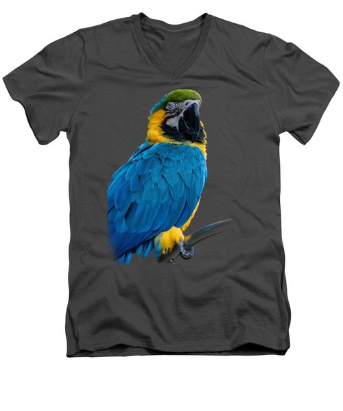 Blue Yellow Macaw No.2 Men's V-Neck T-Shirt by Mark Myhaver
