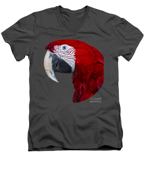 Red Macaw Men's V-Neck T-Shirt by Mark Myhaver