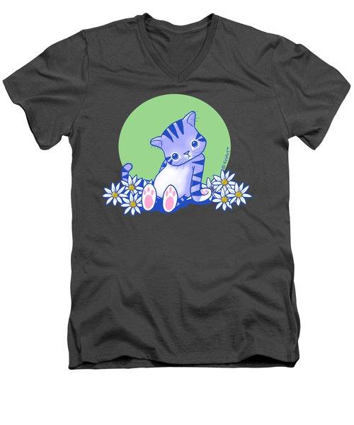 Yittle Kitty Men's V-Neck T-Shirt by Kim Niles