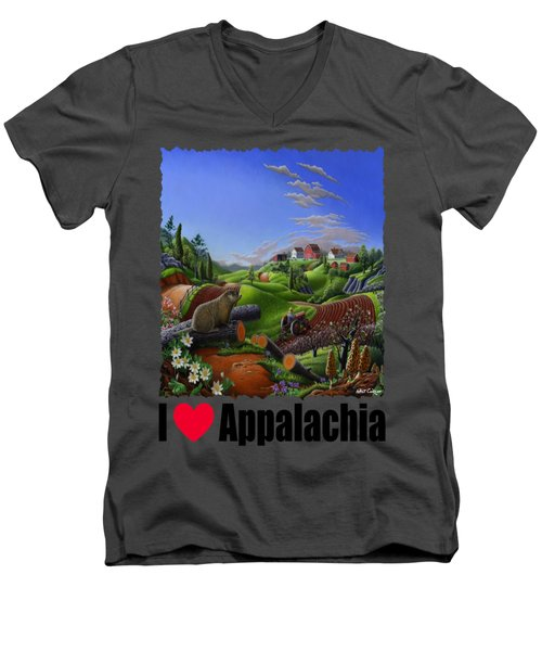 I Love Appalachia - Spring Groundhog Men's V-Neck T-Shirt by Walt Curlee