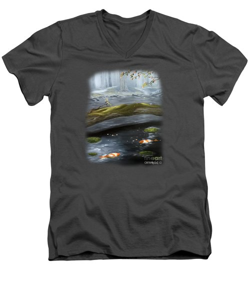 The Wishing Pond  Men's V-Neck T-Shirt by Susan  Rossell