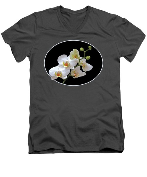Orchids On Black And Red Men's V-Neck T-Shirt by Gill Billington