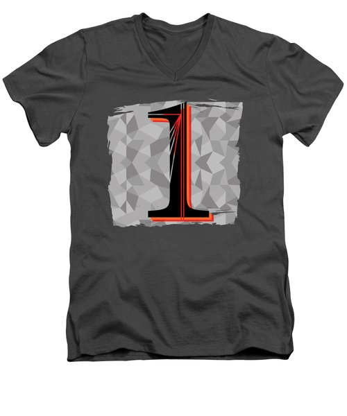 Number 1 One Men's V-Neck T-Shirt by Liesl Marelli