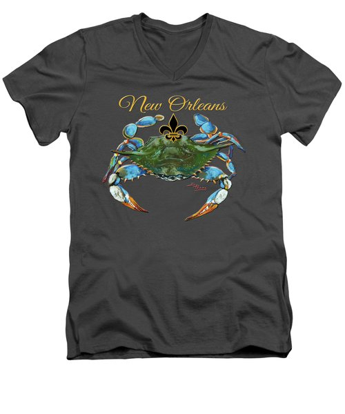 Louisiana Blue On Red Men's V-Neck T-Shirt by Dianne Parks