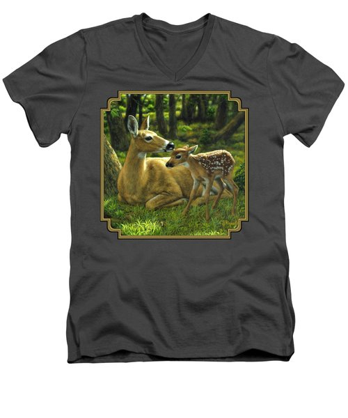Whitetail Deer - First Spring Men's V-Neck T-Shirt by Crista Forest