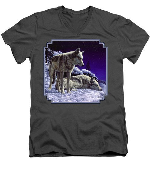 Wolf Painting - Night Watch Men's V-Neck T-Shirt by Crista Forest