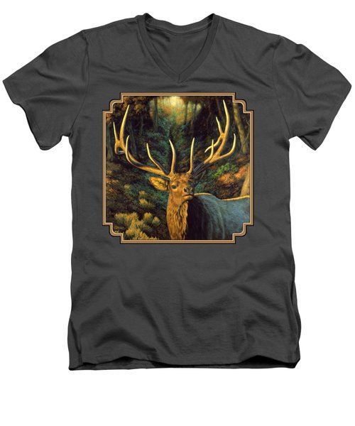 Elk Painting - Autumn Majesty Men's V-Neck T-Shirt by Crista Forest