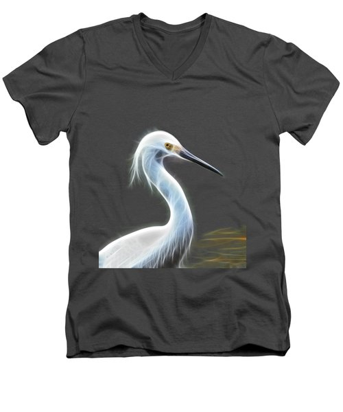 Snow Egret Men's V-Neck T-Shirt by Shane Bechler